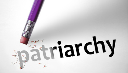 Eraser deleting the word Patriarchy