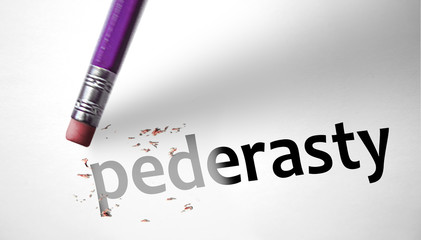 Eraser deleting the word Pederasty