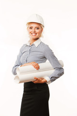 businesswoman architect holding blueprints in helmet on white