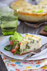 Cauliflower and green beans quiche