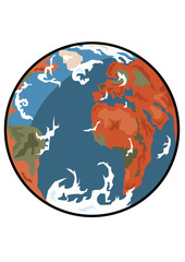Vector format of the planet Earth colored illustration