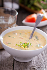 Vegetables and corn chowder