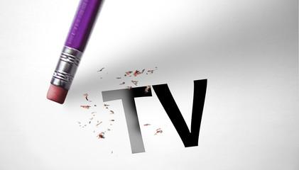 Eraser deleting the word TV