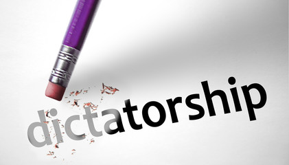 Eraser deleting the word Dictatorship