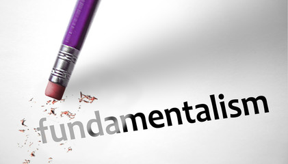 Eraser deleting the word Fundamentalism