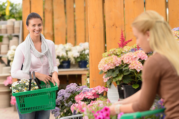 Woman buying flowers shopping basket garden center