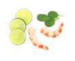 Tasty shrimps with lime.