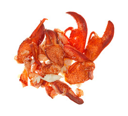 Group of cooked lobster pieces