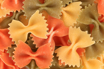 Multicolored italian pasta farfalle.