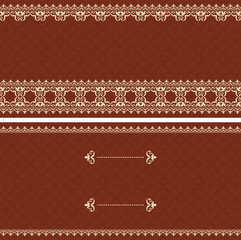 brown vector card with beige ornament