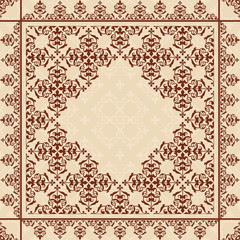 quadratic background with vintage ornament - vector