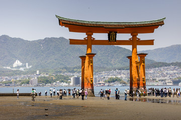 Famous big Shinto torii standing in the ocean, Japan