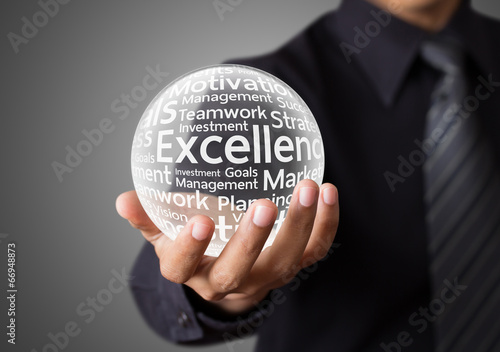 Businessman hand showing excellence word in crystal ball - 66948873