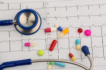 Stethoskop und Tabletten auf einem EKG