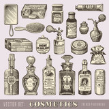 beauty and cosmetics - set of vintage design elements