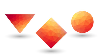 Orange geometrical shapes from triangular faces.