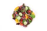 Fresh salad with sausage.