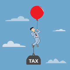 Businessman flying  by using balloon with burden tax