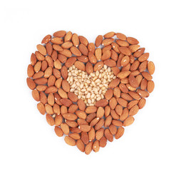 Heart shape of almonds and pine nuts.