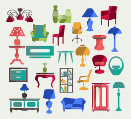 Flat icons set of Interior