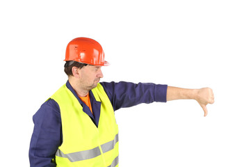 Worker in hard hat with hand thumb down.
