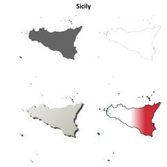 Sicily blank detailed outline map set