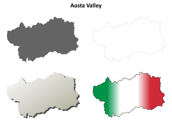Aosta Valley blank detailed outline map set