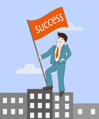 Man with success flag standing on top building,