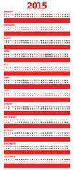special red calendar for 2015
