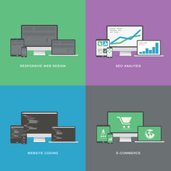 Flat web development electronic vector device icons