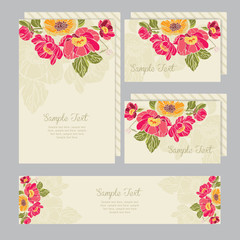 Set of wedding invitations and announcements card