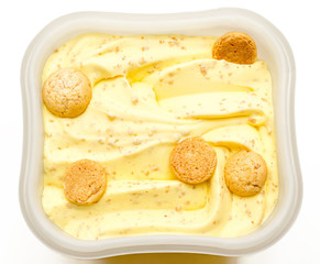 Ice cream with vanilla and amaretti, isolated
