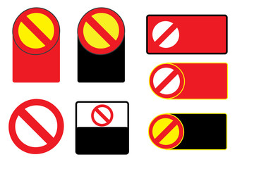 Set of Forbidden Sign Symbol Zone Blank Vector