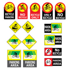 Set of Bicycle Sign Label Vector