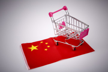 Shopping cart on China flag