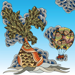 Baobab or bottle trees and air balloons. Vector.