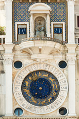 Famous St Marks clock tower on Piazza San Marco, Venice