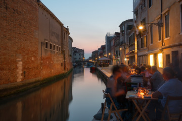 Night scene in Cannaregio neighborhood in Venice