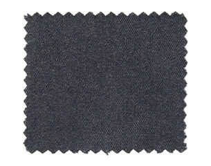 black fabric swatch samples isolated on white background