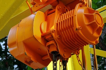 Orange Winch with Iron Chain