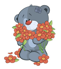 The stuffed toy bear cub and flowers