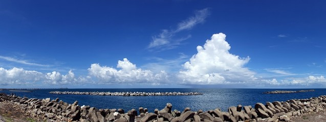 Beautiful Ocean and Sky View with Breakwaters