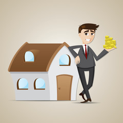 cartoon businessman with house and money