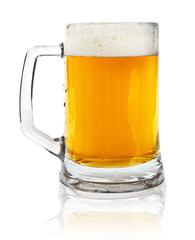 glass mug with beer isolated on white