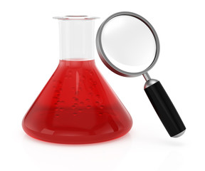 Chemistry flask and magnifier