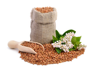 Buckwheat bag and flowers isolated.