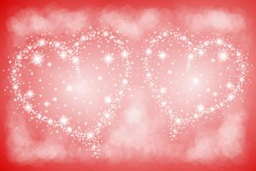 dwa serca na czerwonym tle