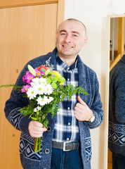 man with  beautiful bouquet