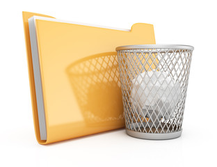 Folder and wastepaper basket