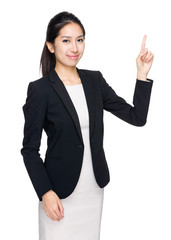 Business woman show finger